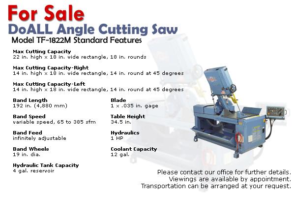 DoALL Angle Cuting Saw - For Sale